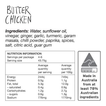 Butter Chicken Ingredients and Nutrition Information - Zest Byron Bay