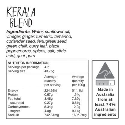 Kerala Blend Ingredients and Nutrition Information - Zest Byron Bay