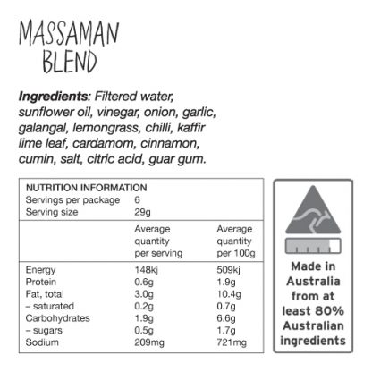 Massaman Blend Ingredients and Nutrition Information - Zest Byron Bay