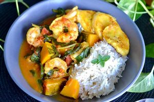 Pumpkin, Prawn and Plantain Caribbean Curry - Zest Byron Bay