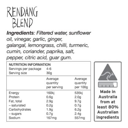 Rendang Blend Ingredients and Nutrition Information - Zest Byron Bay