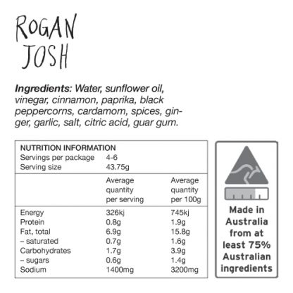 Rogan Josh Ingredients and Nutrition Information