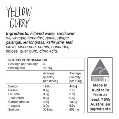Yellow Curry Ingredients and Nutrition Information - Zest Byron Bay