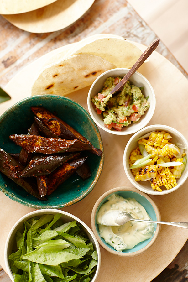 Soft Tacos with Spiced Eggplant & Simple Sides - Zest Byron Bay