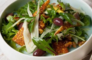 Grilled haloumi, fennel, mint and candied walnut salad